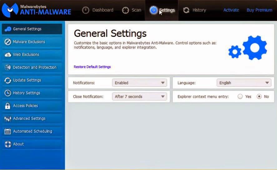 MalwareBytes Free Version - Configurações