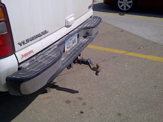 Ball hitch on pickup truck