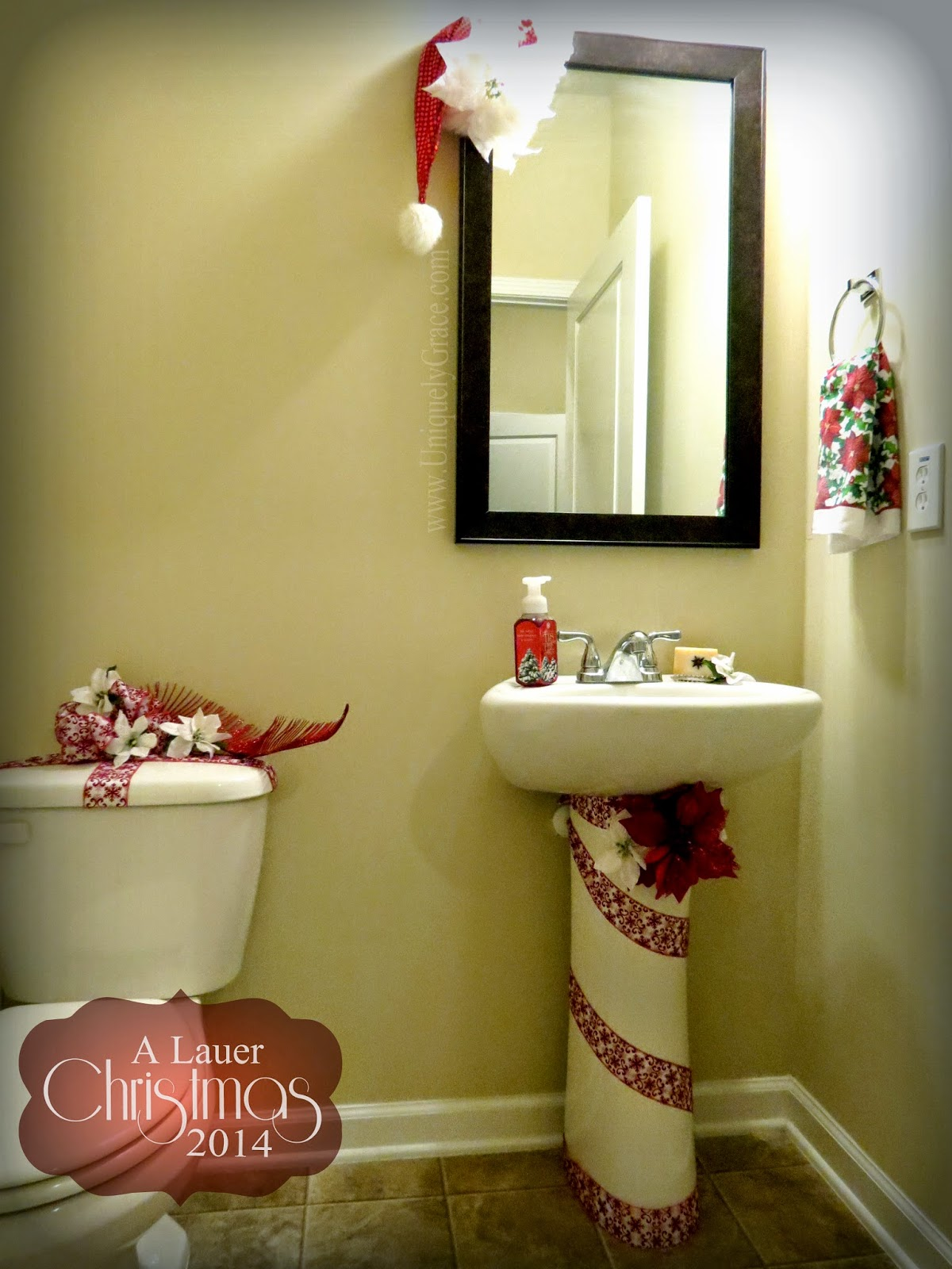uniquely grace a lauer christmas home tour cardinals candy canes burlap kitchen bath. Black Bedroom Furniture Sets. Home Design Ideas