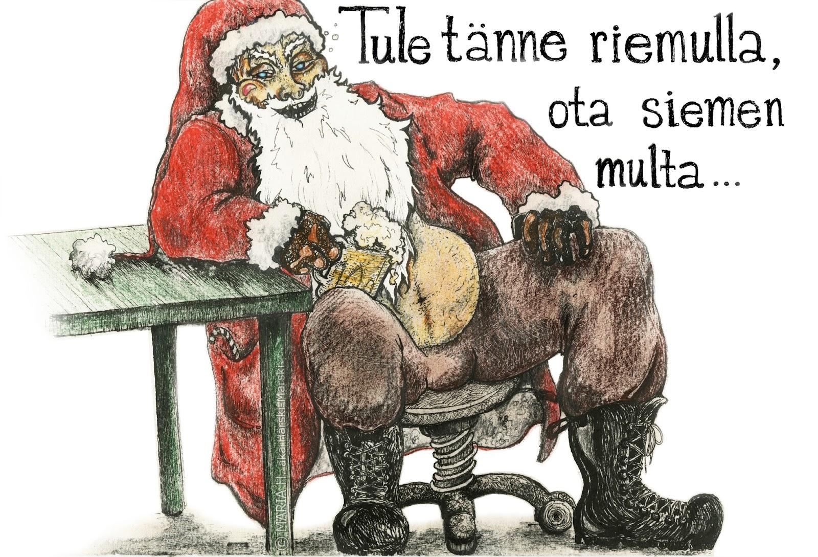 joulu vitsi piirros teekkari huumori