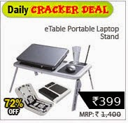 Buy eTable Portable Laptop Stand with 2 usb cooling fan + Rs. 8 cashback for Rs.392 at Shopclues : BuyToEarn