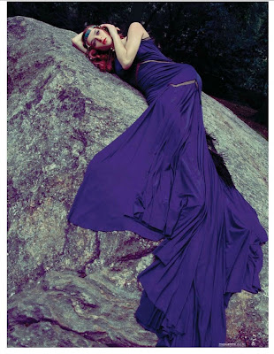 woman laying on rock, Photographe de mode Paris, marie claire south africa, model in huge blue gown