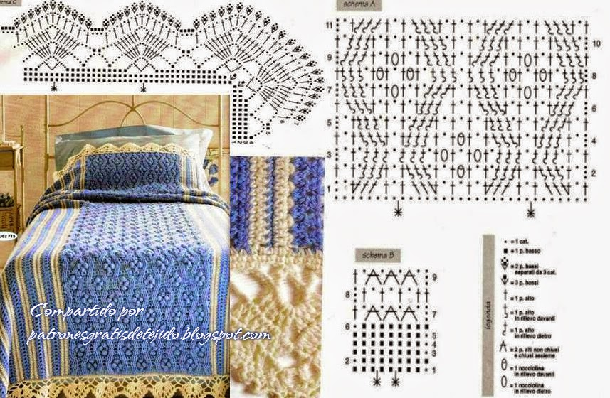 Cubrecama crochet con lindo diseño / patrones | Crochet y Dos agujas ...