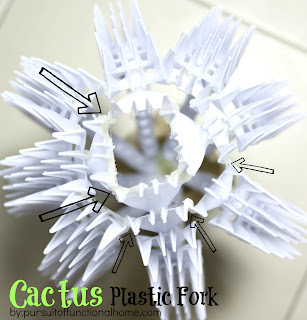 Cactus Plastic Fork. Top View of the project