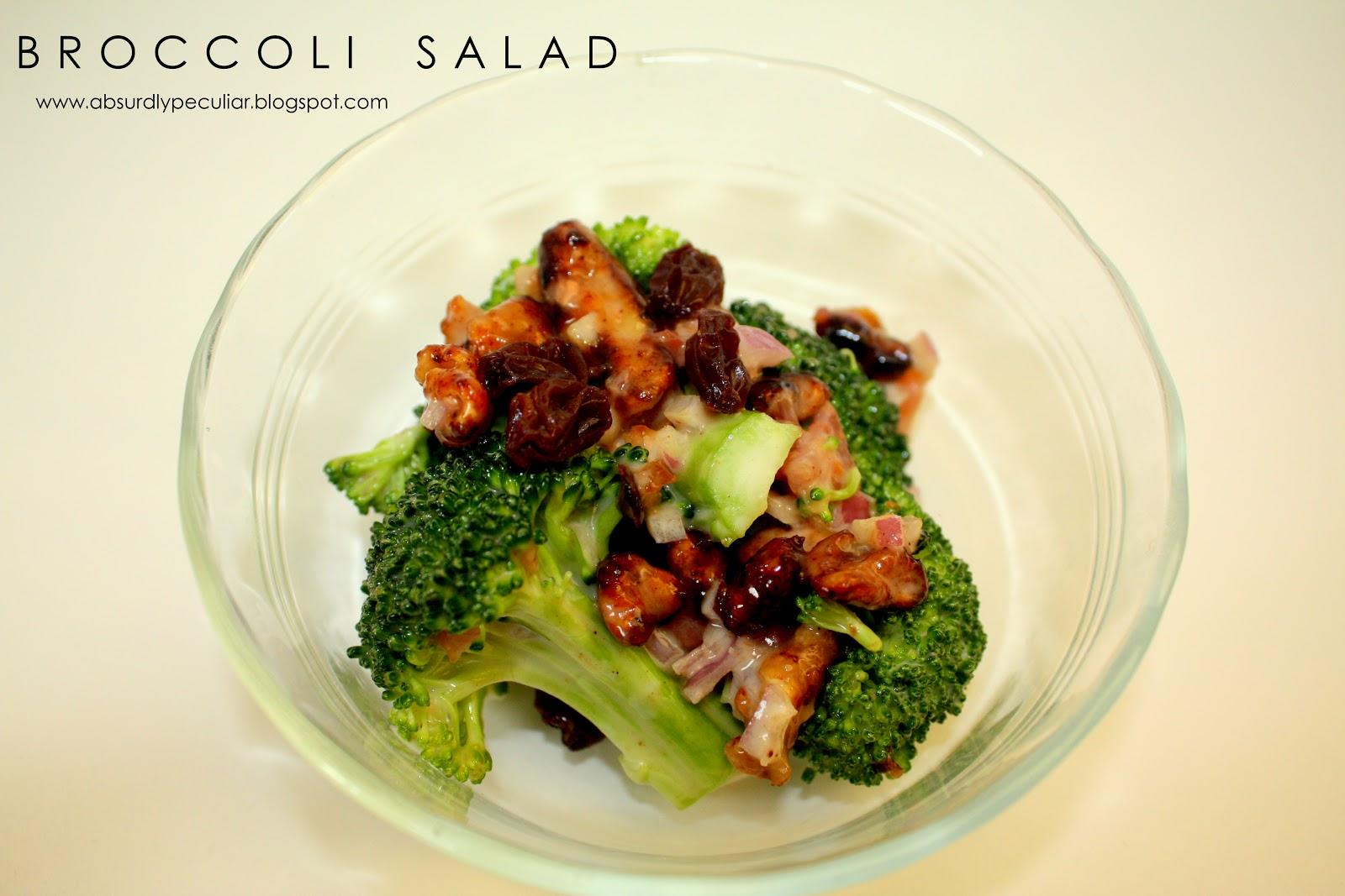 broccoli, salad, broccoli salad, raisins, candied walnuts, onions, Recipe, DIY