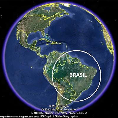 Ubicación de Brasil en El Mundo, Google Earth 2012