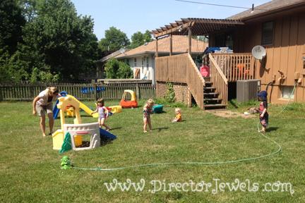 Director Jewels Backyard Sprinkler Party Fail Summer Bucket List