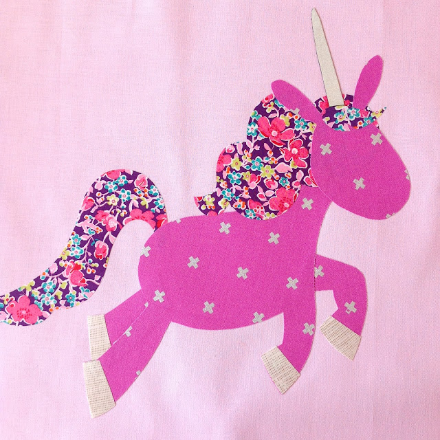 purple Dancing unicorn applique with Liberty hair