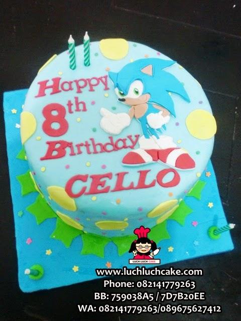 Kue Tart Kartun Sonic Fondant 2D Surabaya Sidoarjo