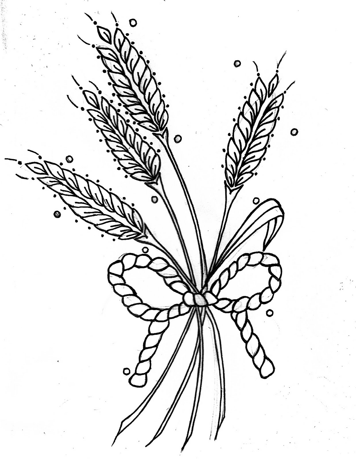 Simple Wheat Drawing A bouquet of wheatWheat Drawing
