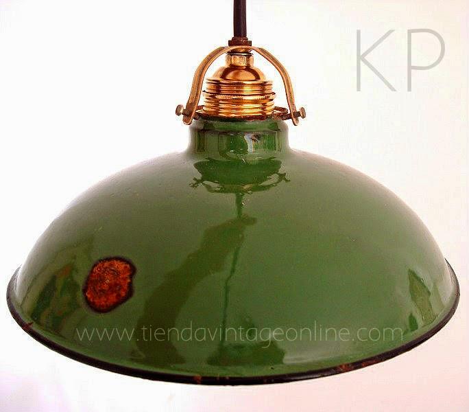 Lámpara vintage industrial de techo color verde