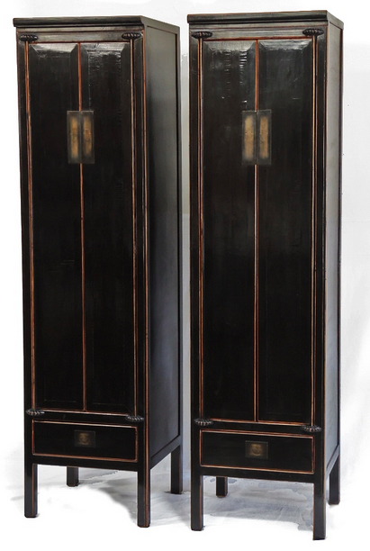 Terra Nova Asian Furniture Los Angeles   Pair Of Antique Asian Black  Lacquer Cabinets For Sale