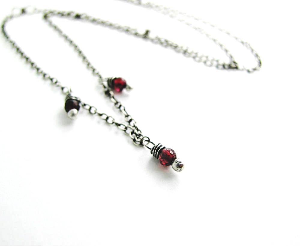 Downton in Red January Garnet Birthstone Necklace by Beth Hemmila of Hint Jewelry
