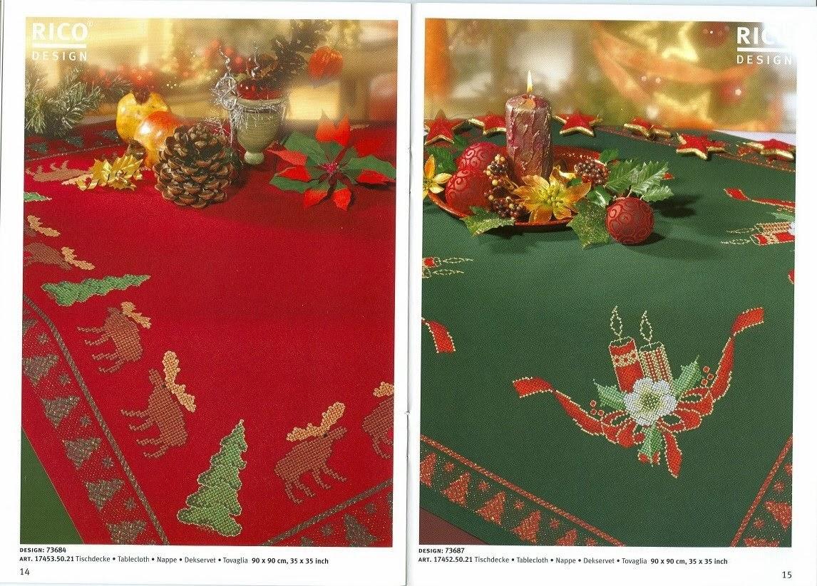 Ba l de punto de cruz manteles de navidad - Manteles navidenos ...