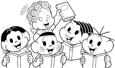 Desenho da Turma da Mônica para o Dia do livro para colorir