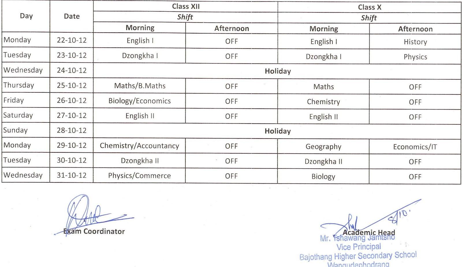 Dissertation Timetables