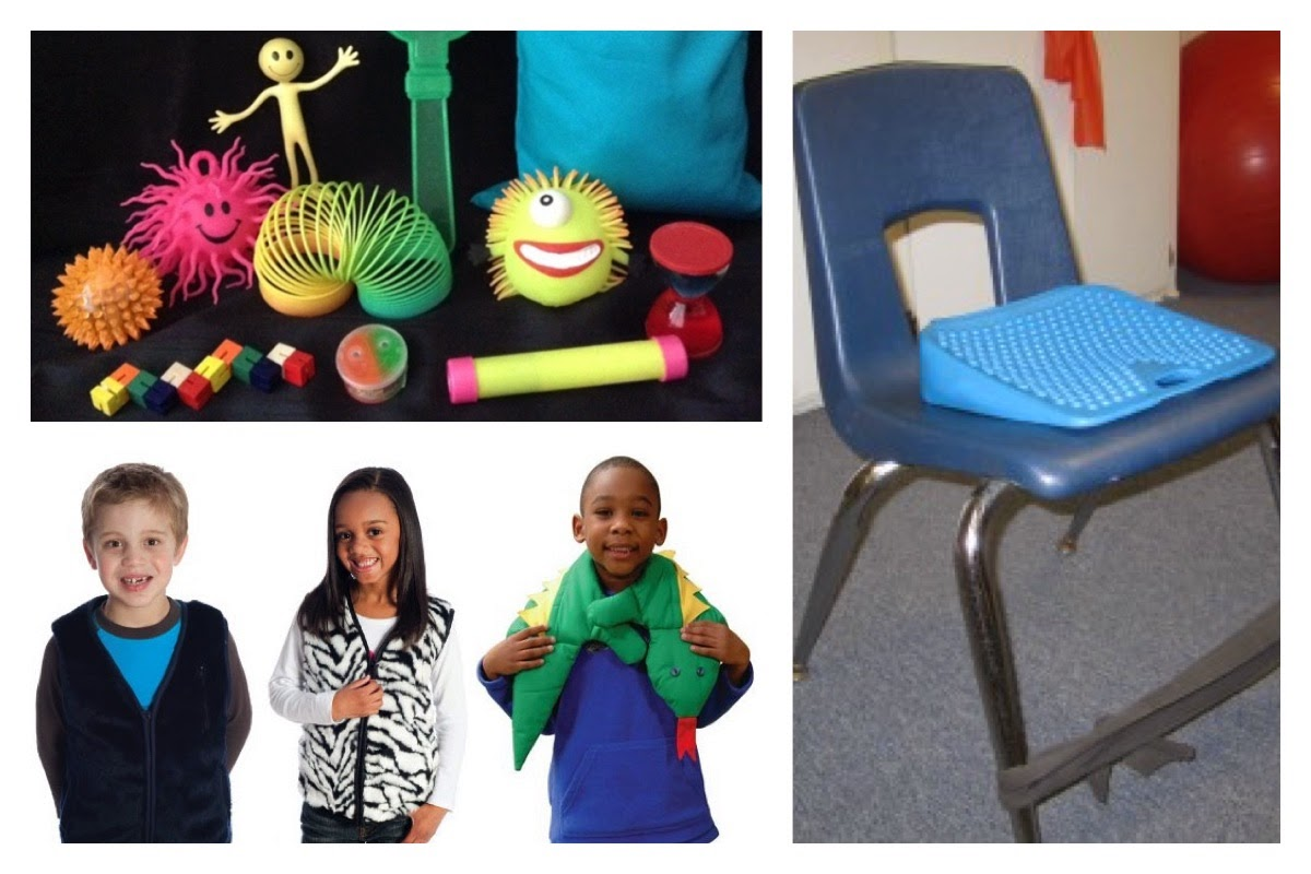 Images of resources used with children who have a sensory processing disorder, including fidget toys, weighted clothing, and a wiggle cushion.