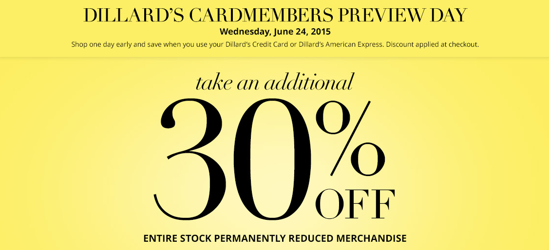 Dillard's Cardholders receive an additional 30% off all permanently reduced items in-store and online when you use your Dillard's Credit Card. Discount applies at checkout. time2one.tk Shop Dillards.