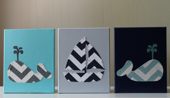Nautical Nursery Decor Wall Art Painting Sailboat Canvas Chevron