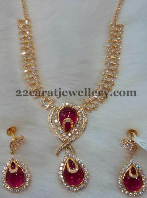 CZ Necklace with Huge Rubies