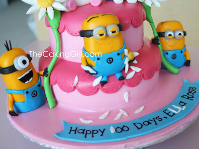 edible despicable me figurines on cake