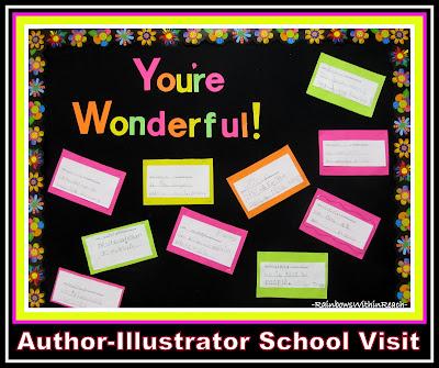 """You're Wonderful"" Bulletin Board with Kindergarten Writing via RainbowsWithinReach"