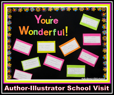 """You're Wonderful"" Bulletin Board with Kindergarten Writing via RainbowsWithinReach"