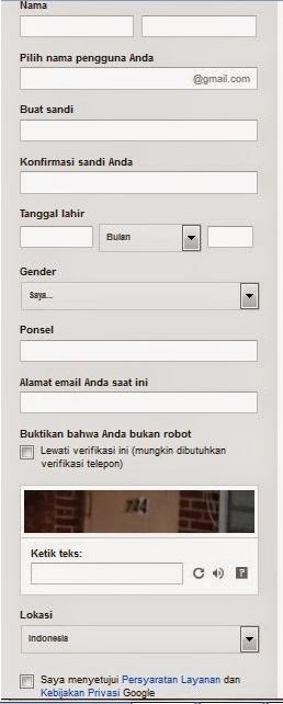 Formulir Pendaftaran Gmail
