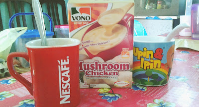 nescfe, mushroom chicken, vono, instant soup