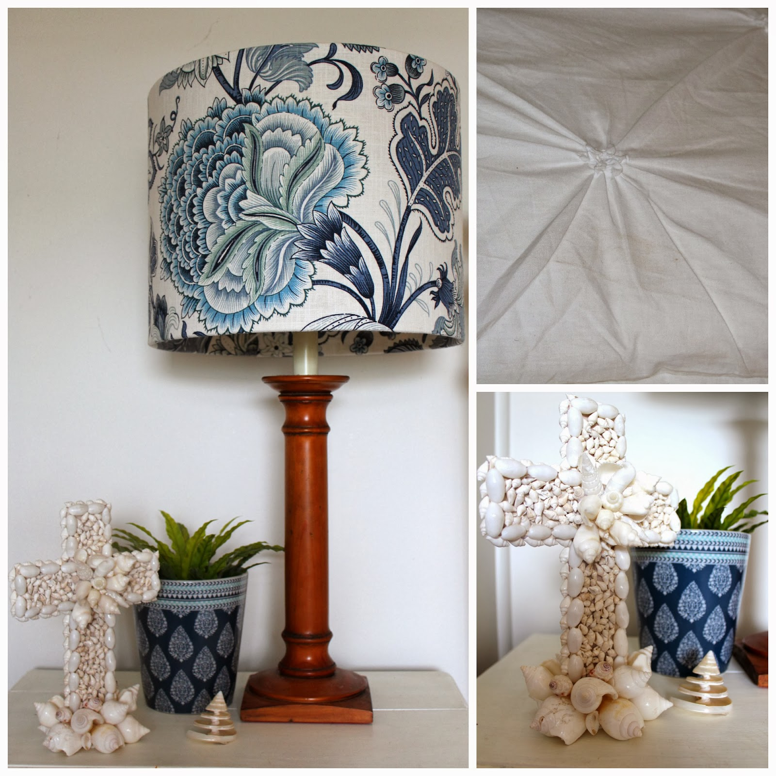 How to makeover a coastal bedroom in blue and white desire empire as for the accessories some time ago i covered an old lamp shade i already had and bought another lampshade the same size to cover aloadofball Gallery