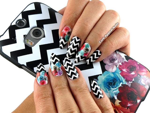 Black and White Chevron Nails with Born Pretty Store Rose Water Decals