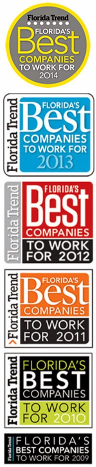 Voted One of the Best Companies to Work for 2009-2014 by Florida Trend