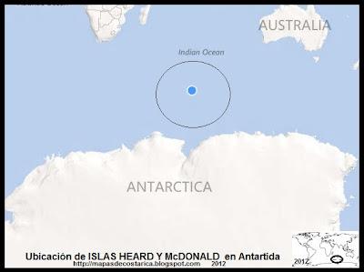 Antartida. Ubicación de ISLAS HEARD Y McDONALD en Antartida, BING