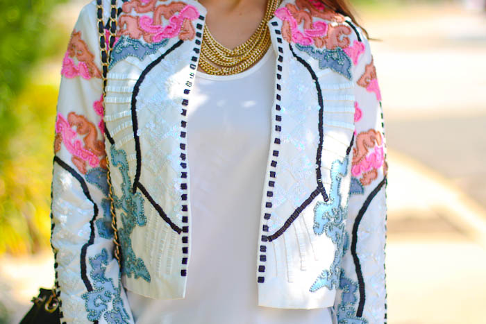 asos blue pink embellished jacket