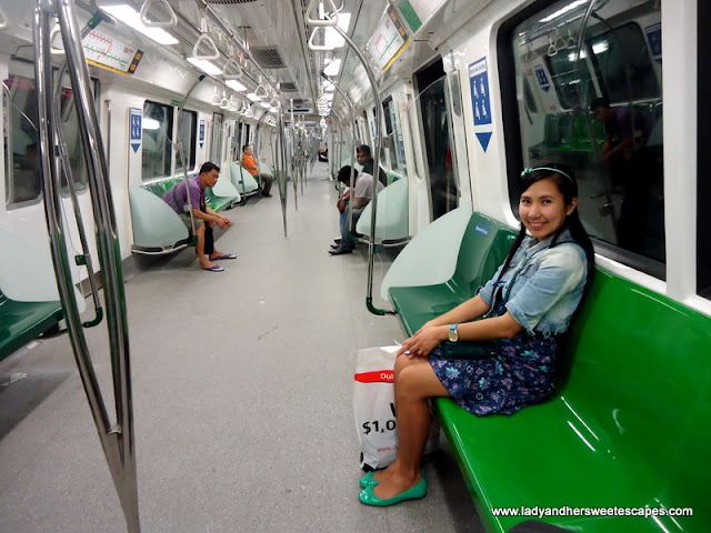 Lady inside the train in Singapore
