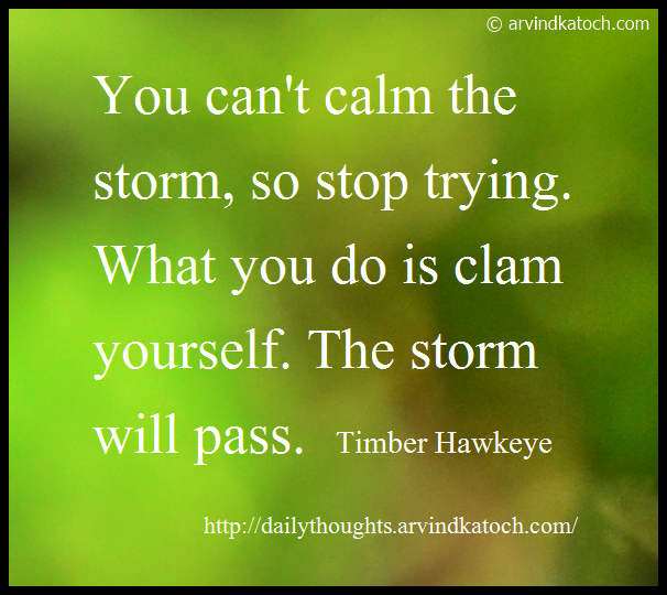 Daily thought, Daily Quote, Storm, clam, Timber Hawkeye,