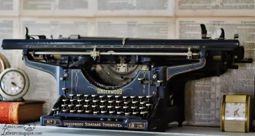 Antique Underwood Typewriter on Repurposed Piano Desk by knickoftimeinteriors.blogspot.com