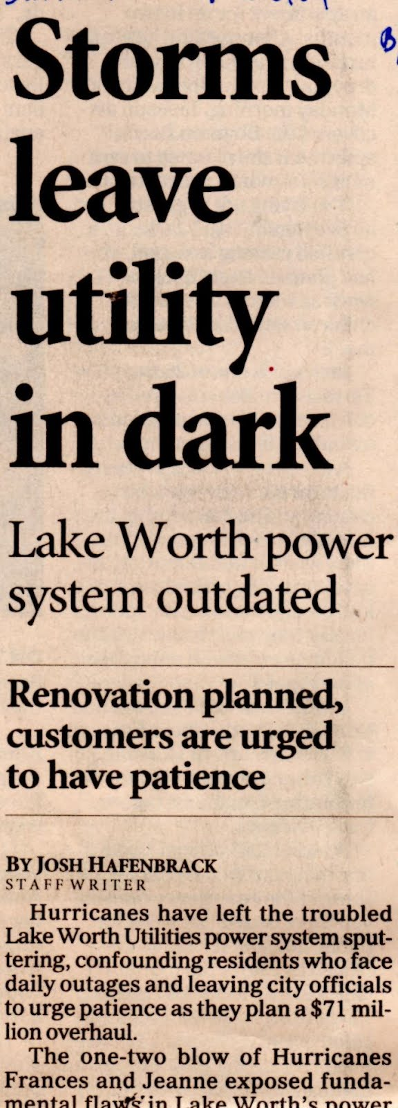 Why Lake Worth Elec- tric Utility fell into dis- repair. Click newspaper clipping from 2004.