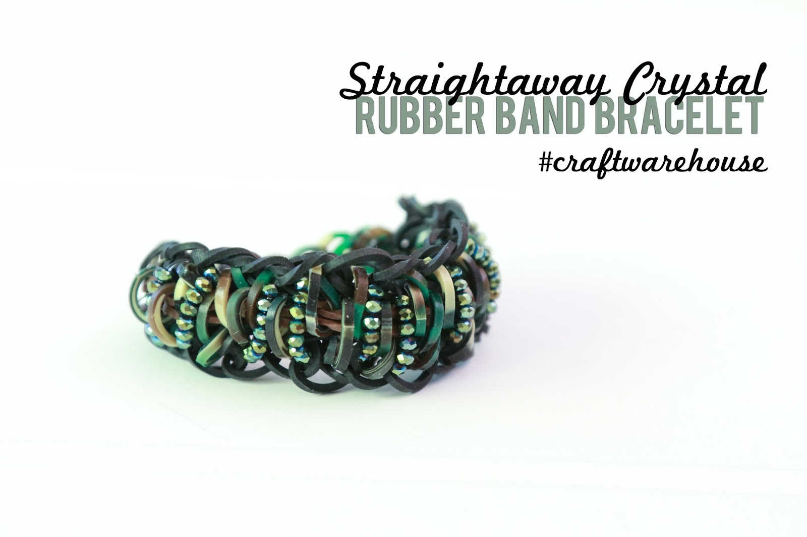 Straightaway Crystal Rubber Band Bracelet @craftsavvy #craftwarehouse #rubberbandbracelets #loombands #diy