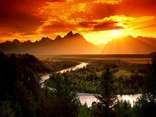 The World That Then Was The First Earth Age - Sunset in the Mountains with River and Trees
