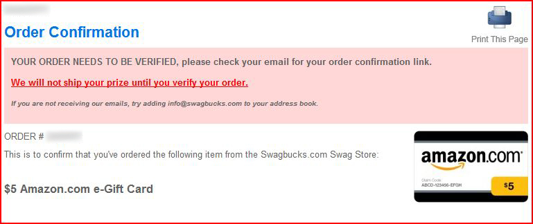 How to order an Amazon Gift Card on Swagbucks Need+to+verify
