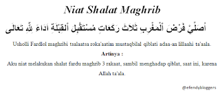 Niat Shalat Maghrib