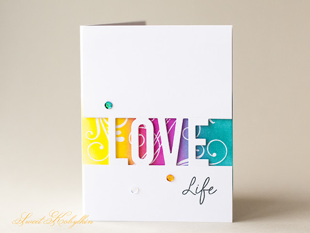 Greeting Card with Love Die-namics from MFTStamps by Sweet Kobylkin