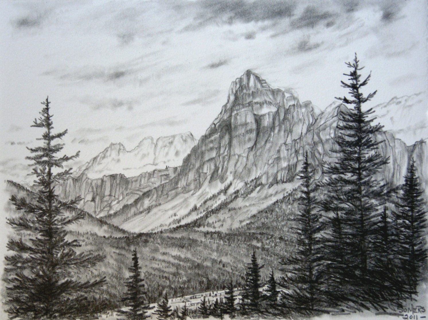 Image gallery mountain scene drawing for Forest scene drawing