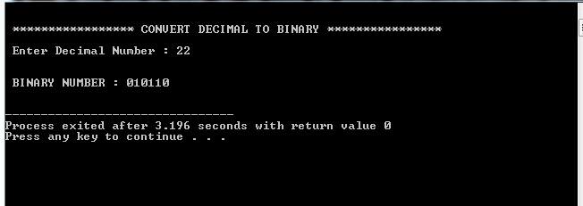 Conversion between Decimal to Binary