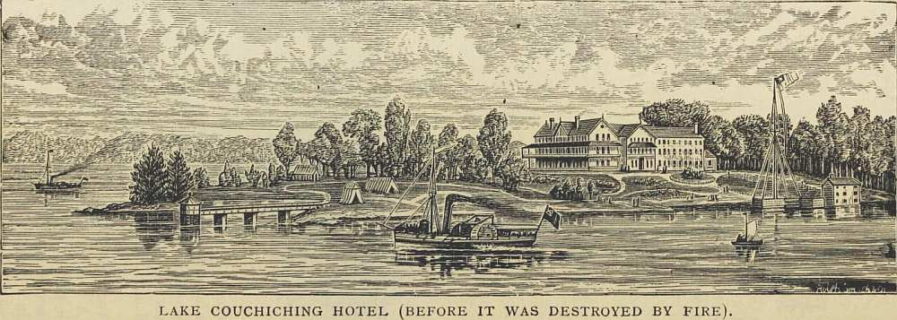 Illustration of the hotel on Lake Couchiching, circa 1890.