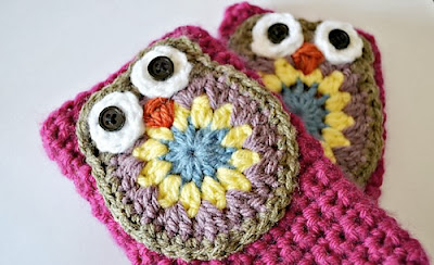 free crochet pattern owl fingerless mitts