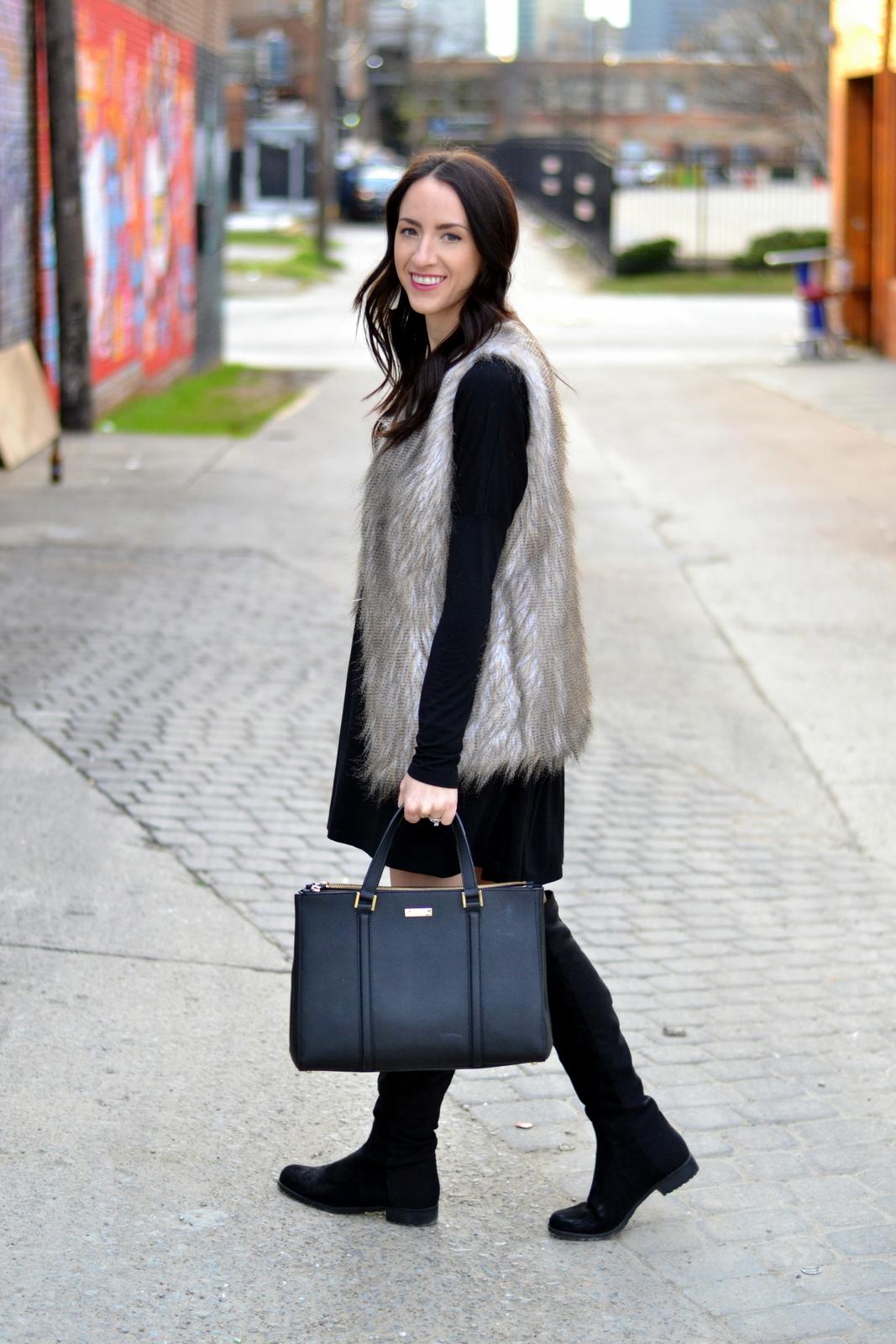 Fur Vest_Kate Spade_Black Piko