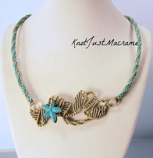Free form macrame necklace with starfish in teal by Sherri Stokey.
