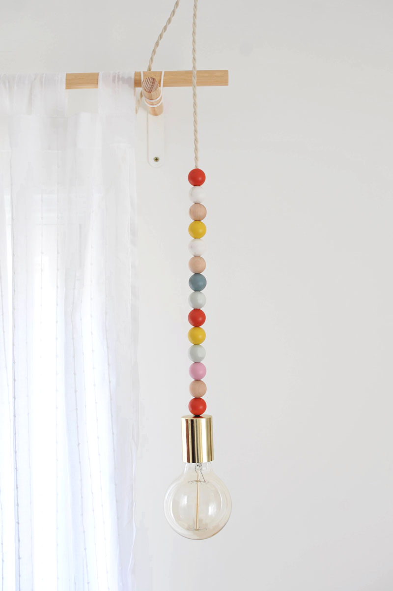 DIY Wooden Bead Pendant Light
